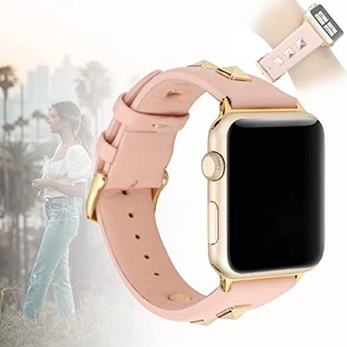 Compatible con Apple Watch SE Series 6 5 4 3 Remaches Dorados Tachuelas Correa De Cuero, Pulsera De Joyería Pulsera Correa De Repuesto para Iwatch Bands,40mm
