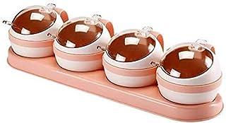 YYAI-HHJU 3 / 4Pcs / Set Boîte D'Assaisonnement Nordique Cuisine Sel Sucre Boîtes De Rangement Support Pot en Plastique Co...