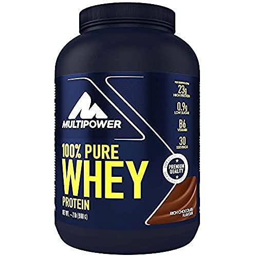 Multipower 100% Pure Whey Protein - Fino a 80% di Proteine del Siero del Latte - Proteine Isolate come Fonte Principale - 30 Porzioni - Per lo sviluppo Muscolare - 900 g - Gusto Cioccolato