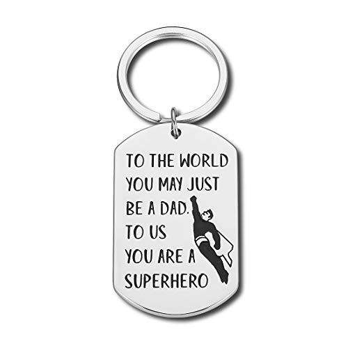 Fathers Day Gifts Dad Birthday Keychain for Daddy Papa Step Dad from Daughter Son Wife Kids Christmas Wedding Anniversary Gift for Men Him