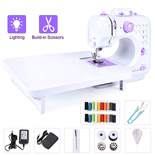 Portable Electric Sewing Machine with Extension Table 12 Built-in Stitches for Amateurs Beginners Embroidery, Bonus Shared 20 Thread Spools