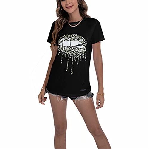 ZFQQ Camiseta Estampada de Manga Corta con Cuello Redondo de Verano para Mujer