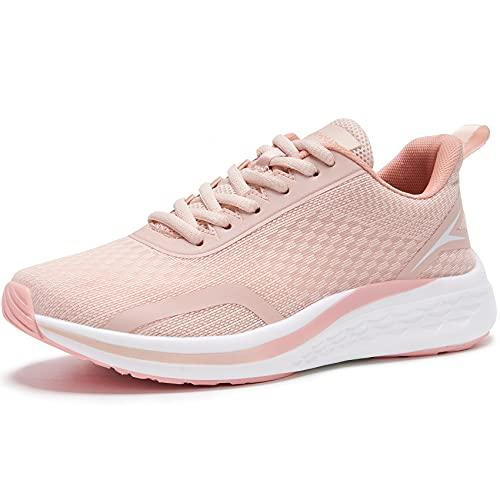 URDAR Scarpe da Ginnastica Donna Leggero Respirabile Running Basse Basket Sport Outdoor Fitness Sneakers Scarpe da Casual Sneakers (Rosa,41 EU)