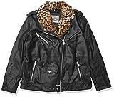 Levi's Women's Oversized Leather Belted Motorcycle Jacket (Standard & Plus Sizes), Black Faux Fur Collar, Medium