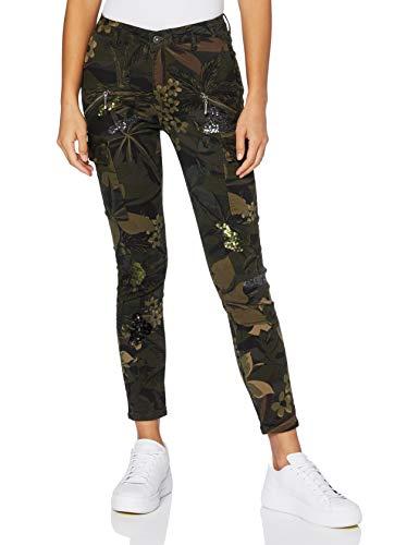 Desigual Pant_Camo Cargo Pantalones Casuales, Green, 46 para Mujer