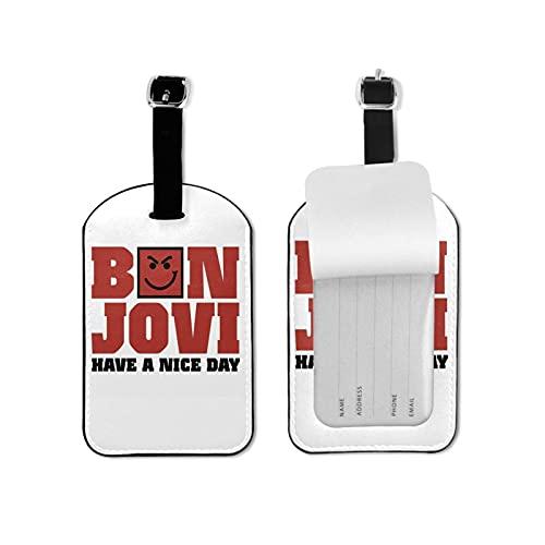 Bo-n Jovi - Etiquetas de equipaje de cuero para hombres y mujeres, etiquetas de maleta 2.7 x 4.3 pulgadas