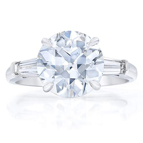 Bhumi Gems 3CT Round OEC Colorless VVS1 Moissanite Engagement Ring for Women, Wedding Ring, Halo Ring, Solitaire Ring for Gift, Anniversary Promise Ring, Moissanite Ring, (9)