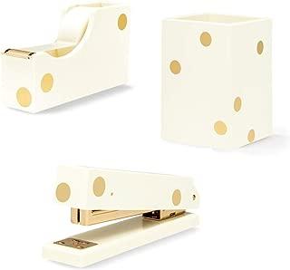 Kate Spade New York 3 Item Acrylic Desk Set Gold Dots   Stapler, Tape Dispenser, Pencil Holder