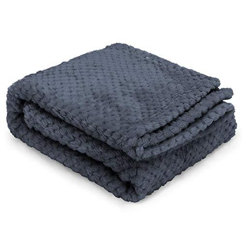 Nobleza Hundedecke Weiche Fleecedecke Waschbare Deck für Haustier Hunde Katzen Welpen Weiche Warme Matte, Grau 100 * 80cm