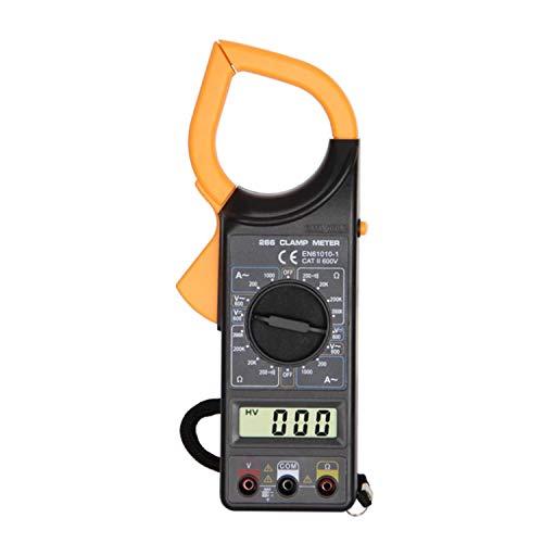 クランプメーター デジタルテスター 1999カウント 電気テスター AC/DC電圧 AC電流 抵抗 導通テスト データ保持 絶縁試験 測定 小型電圧テスター 軽量 多機能 収納袋付き DT266