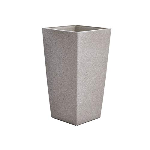 Tall Rectangle Plant Pot With Sandstone Effect Plastic Garden Home Gardening Planter Accessory For Flowers Herbs Trees Plants Indoor/Outdoor Use Patio Decking Convervatory Lawn Hallway - Beige 41cm
