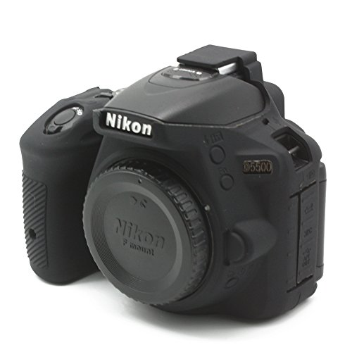 CEARI Silicone Protective Housing Camera Case Body Frame Shell Cover for Nikon D5500 DSLR Camera - Black