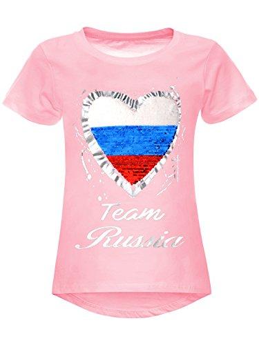 BEZLIT Mädchen WM 2018 T-Shirt Russia Wende-Pailletten Russland Herz 22737 Rosa Größe 128