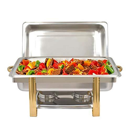 Futchoy Calentador de buffet de acero inoxidable de 9 L, juego de servidores de buffet, baños maría, calentador de alimentos, recipiente para calentar alimentos, para bufé, banquete, fiestas