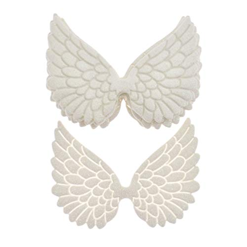 BetterUS 10Pcs Angel Wings Patches Gold Stamping Fabric Embossed PVC Glitter White Bag Clothes Applique DIY Crafts (White)