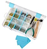 ArtBin 6944AG Medium Box with Removable Dividers, Jewelry & Craft Organizer, [1] Plastic Storage Case with Anti-Tarnish Technology, Clear with Aqua Accents, (10.75' x 7.375')