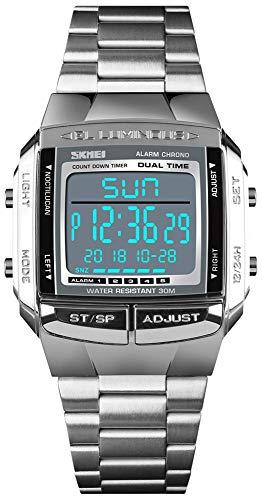 Mens Luxury Digital Watches Multifunctional Stopwatch Countdown Alarm Backlight Water Resistant Watch (Silver)