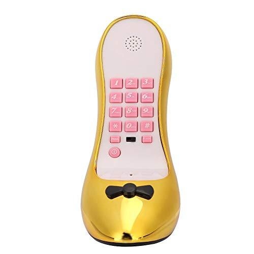 Teléfono, teléfono de Moda con Zapatos de tacón Alto, teléfono Fijo de sobremesa Dorado de sobremesa Sonido Clara, Regalo Ideal para Sus Amigos(Electrochapa de Oro)