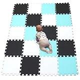 YIMINYUER Alfombras Puzzle para Bebé Alfombrilla Suelo Goma EVA Puntos Blanco Negro Verde R01R04R08G301020