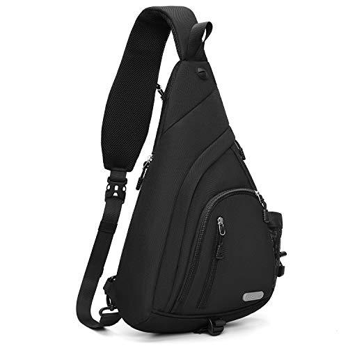 MOSISO Sling Backpack, Hiking Daypack Curved Zipper Crossbody Shoulder Bag, Black