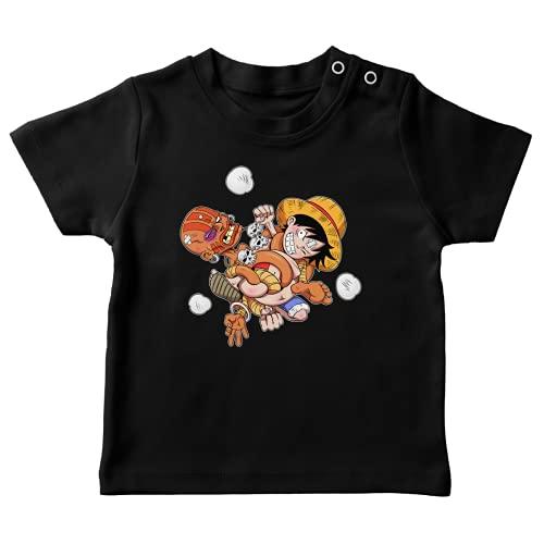 T-Shirt bébé Noir Parodie One Piece - Street Fighter - Luffy et Dhalsim - Baston élastique (T-Shirt de qualité Premium de Taille 6 Mois - imprimé en France)