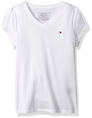 Tommy Hilfiger Big Girl's Solid V Neck Tee Shirt, white, Large