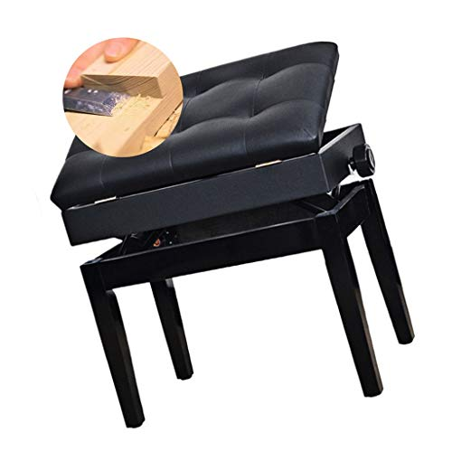 UsmanCR1 Silla for Piano,Taburete de Piano con Altura Ajustable, Banco de Piano de Madera Acolchado de Cuero PU con Almacenamiento de Música, 56x35x46-56cm (Color : Black)