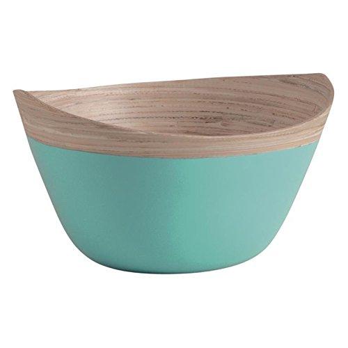 Saladier ovale en bambou laqué turquoise