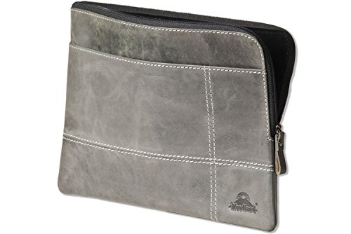 Woodland® Hochwertige Ledertasche für Computer-Tablets aus weichem, naturbelassenem Büffelleder in Anthrazit, Grau