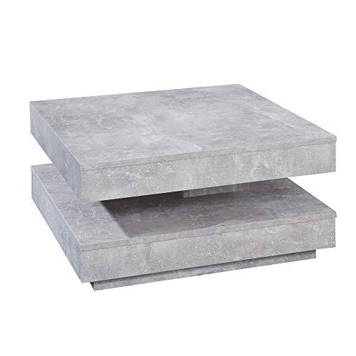 trendteam smart living Wohnzimmer Couchtisch Wohnzimmertisch Universal, 70 x 35 x 70 cm in Betonoptik mit drehbarer Tischplatte