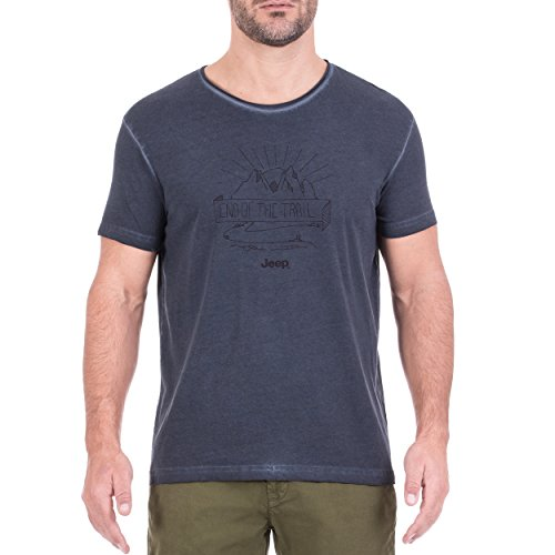 Jeep Homme Vintage End of The Trail j8s T-Shirt S Blue Night/Black