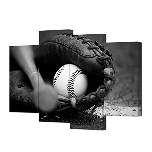 HOMEOART Baseball Wall Art Sports Themed Painting Pictures Canvas Prints Boys Bedroom Decoration Black and White Stretched Framed Artwork 4 Panels