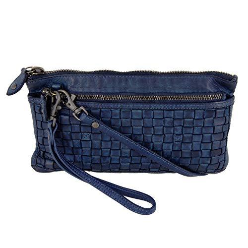 Bear-Design schoudertas portemonnee (20/12/ 2 cm) met polsriem, CL13997 gevlochten, gewassen leer