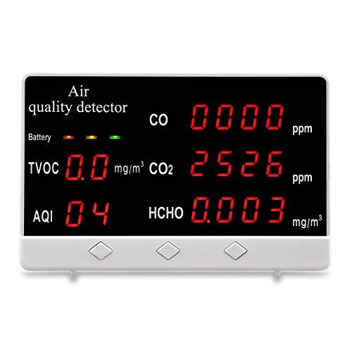 GJCrafts Détecteur de qualité de l air avec Affichage numérique à écran LED Détecteur de gaz CO2 HCHO TVOC pour Le ménage, Le Bureau, l école, la Voiture, l hôtel, la Chambre des mères et des bébés