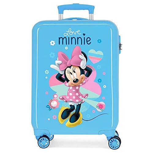 Disney Love Minnie Maleta de Cabina Azul 37x55x20 cms Rígida ABS Cierre combinación 34L 2,6Kgs 4 Ruedas Dobles Equipaje de Mano