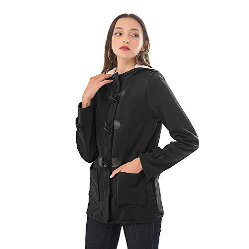 Dames Plain Hoodie Winter Warm Gevoerde Zip Up Jas voor Vrouwen