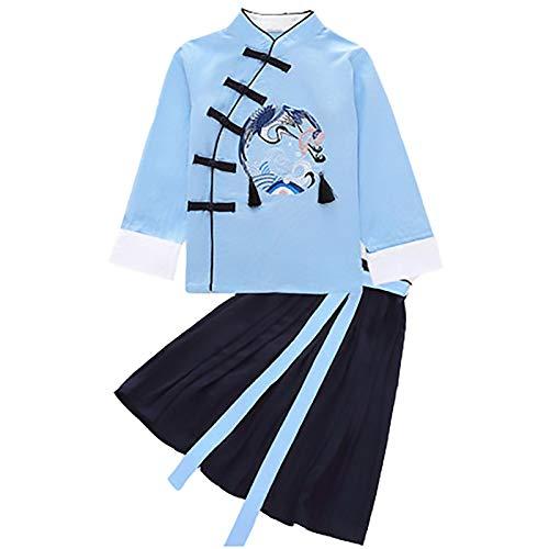 Costume tang - broderie de grue traditionnelle chinoise pour enfants Hanfu costume pour enfants Tang costume filles robe de banquet garçons kung fu top jupe pantalon (Color : Girl Blue, Size : 110)