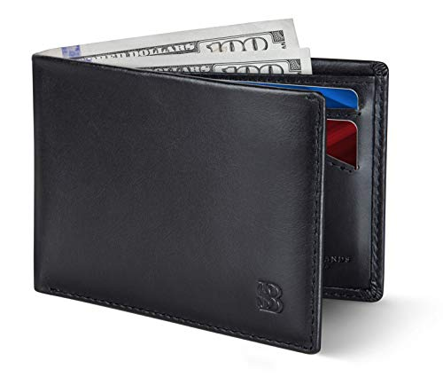 SERMAN BRANDS Mens Slim Bifold Wallet RFID Blocking Minimalist Front Pocket Full Grain Leather Wallets for Men - Thin & Stylish (Jet Black Elite)
