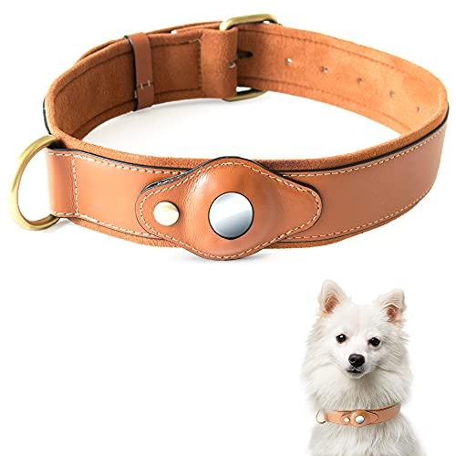 Steinweber Hundehalsband mit AirTag Fach, XL, Umfang 43-60cm für große Hunde! Echtes Leder-Halsband, gepolstert, verstellbar, strapazierfähig, Hülle Case für AirTag
