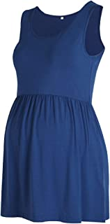Women's The Front Pleated Maternity Tank Tops Sleeveless Shirts Pregnancy Clothes Navy