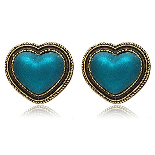 FEARRIN Pendientes de aro Vintage Pendientes Bonitos Pendientes de botón de Resina de aleación de corazón de Amor para Mujer Regalo de joyería H140-K649-04