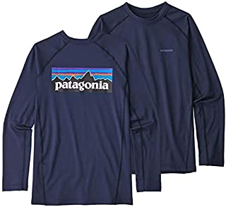 Patagonia 男の子用 L/S シルク ウェイト ラッシュガード シャツ (子供 X-Small 5-6) ネイビーブルー ラッシュガード