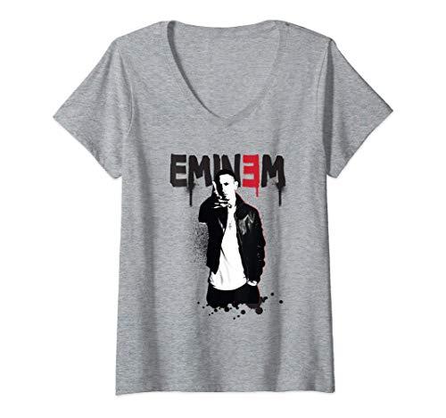 Womens Eminem Official Sprayed Up V-Neck T-Shirt