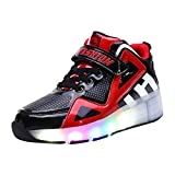Hopscotch Boys PU Led Sneakers with Roller in Red Color, UK5.5 (RUO-2877838)