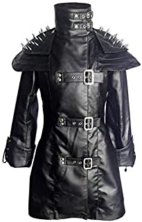 Womens Ladies Sheep Leather Black Steampunk Gothic Coat