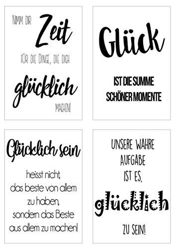 Edition Seidel Set 4 Premium Poster mit Sprüchen (Format DIN A4) ohne Rahmen Kunstdruck mit Zitaten (schwarz weiß). Bild Bilder Wandbild Wohnzimmer Schlafzimmer Küche (Glück Set 1)