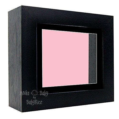 Bilderrahmen, tief, 15,2 x 12,7 cm, mit schwarzem Passepartout und pinker Rückseite, Schwarz