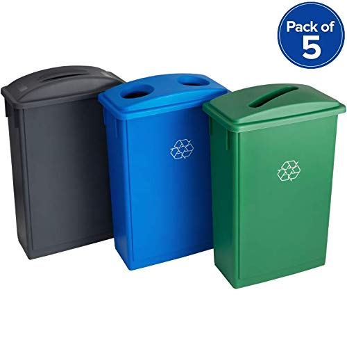 Kit 5pc! 23 Gallon Slim Recycle Station with Grey Flat Top, Blue Bottle/Can, and Green Paper Lids. Best Using in Hospital, Nursing Homes, Rehab Center, Hotel, Animal shelter, Warehouse!