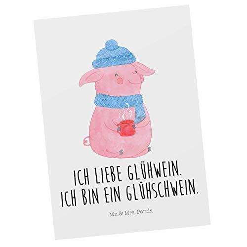 Mr. & Mrs. Panda Ansichtskarte, Einladung, Postkarte Glühschwein mit Spruch - Farbe Weiß