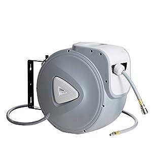 AREBOS Enrollador de manguera de aire comprimido | 30 m | enrollador automático de manguera | soporte de pared…